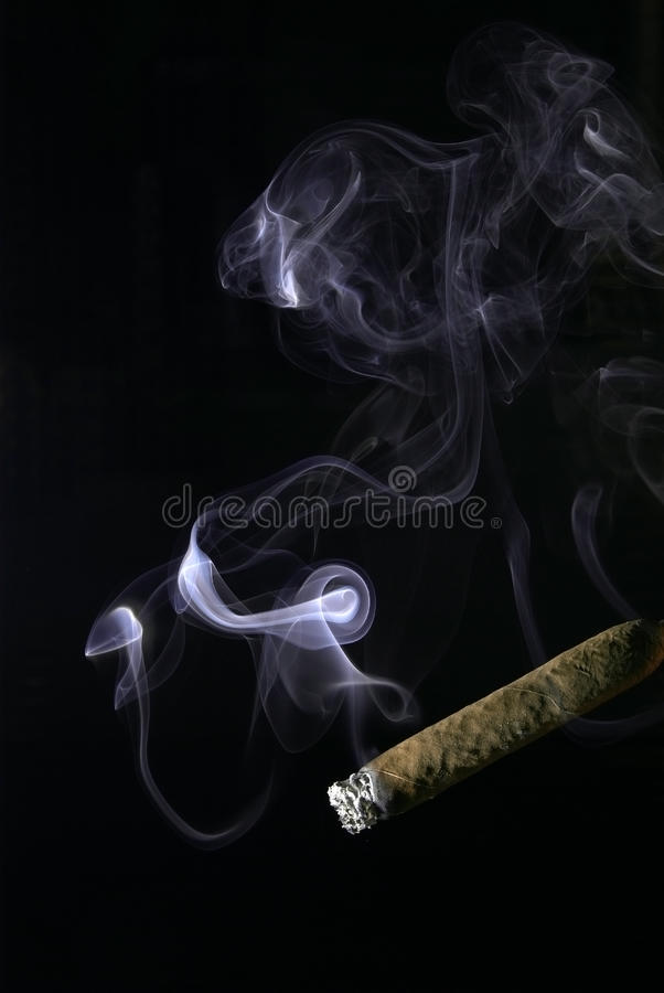 Cigar smoke royalty free stock photo