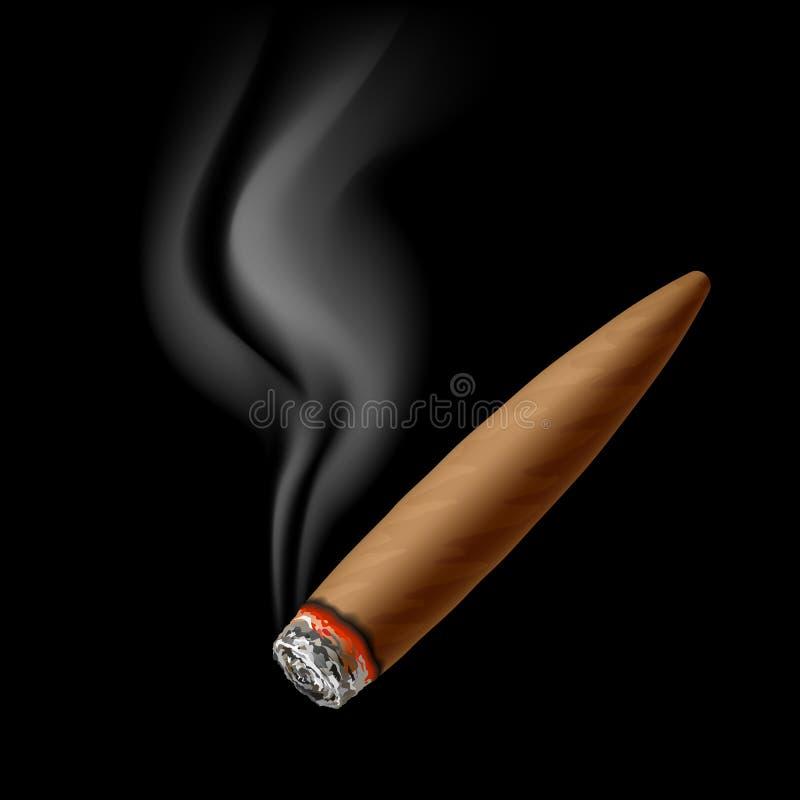 Cigar with smoke. Illustration on black royalty free illustration