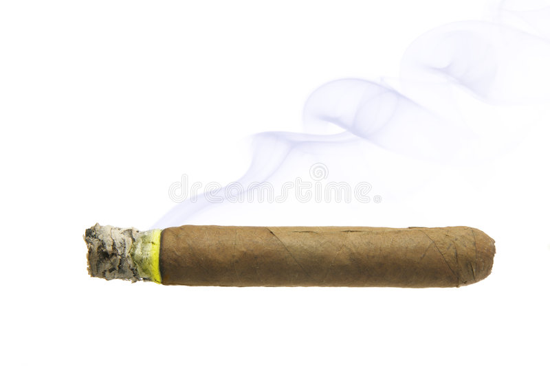 Cigar With Smoke Isolated Stock Photography