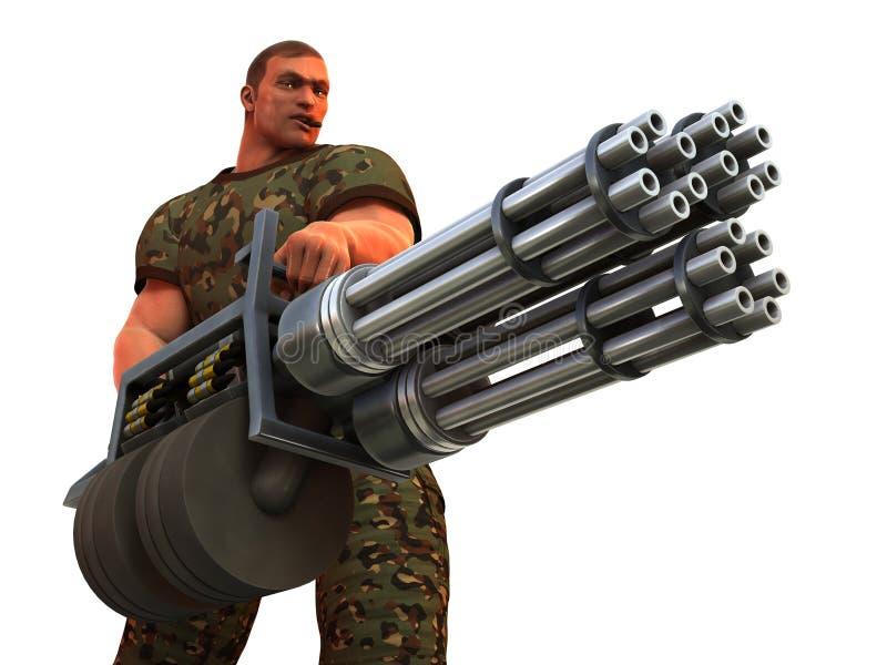 Cigar smoking GI with very big gun. Digital render of cigar smoking fantasy soldier with huge Gatling gun style weapon stock illustration