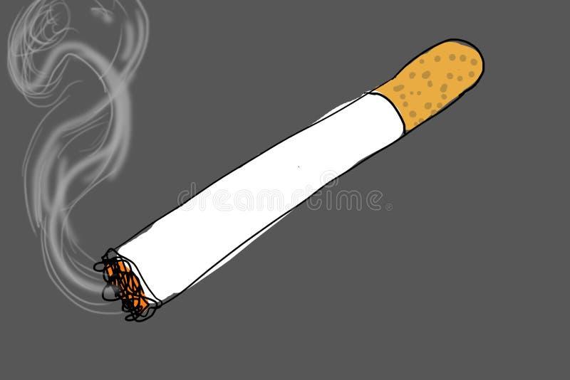 Cigare allumé sur le fond gris, illustration libre de droits