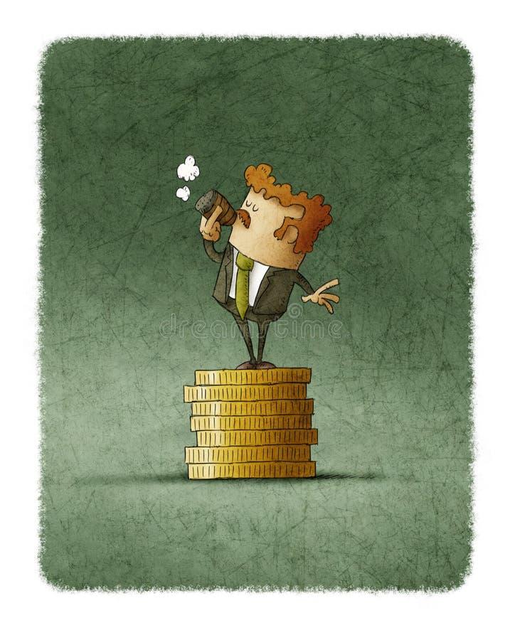 Cigare de tabagisme d'homme d'affaires réussi sur la pile de pièces de monnaie illustration libre de droits