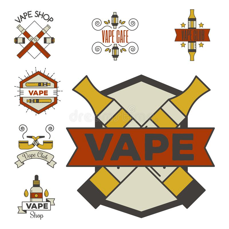 Cigarett för nikotin för tappning för Vaping e-cigarett emblemsvector elektronisk royaltyfri illustrationer