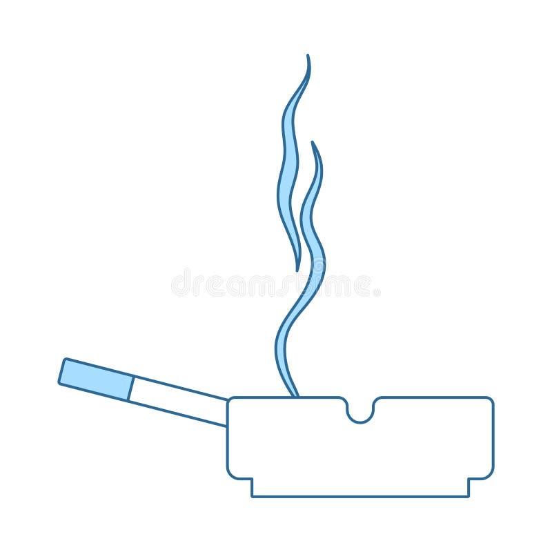 Cigarett i en askfatsymbol stock illustrationer