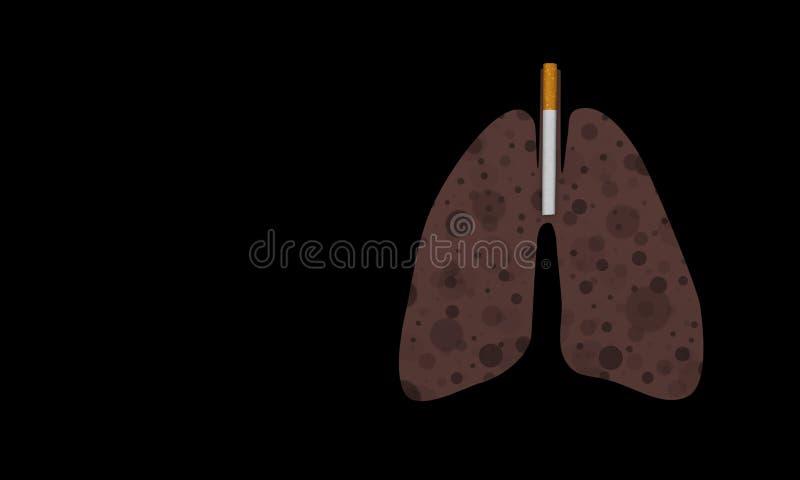 Cigarett och lunga av rökaren mycket av svarta prickar vektor illustrationer