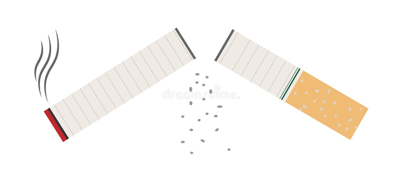 Cigarett som isoleras på vitbakgrund Oskick isolerade fängelsekunder för armomsorg hälsa låt vara av rökning också vektor för cor fotografering för bildbyråer