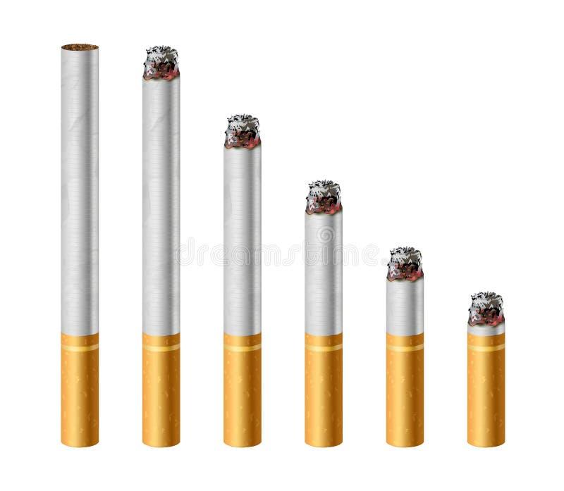Cigarettbränning i den olika etappvektorillustrationen som isoleras på vit vektor illustrationer