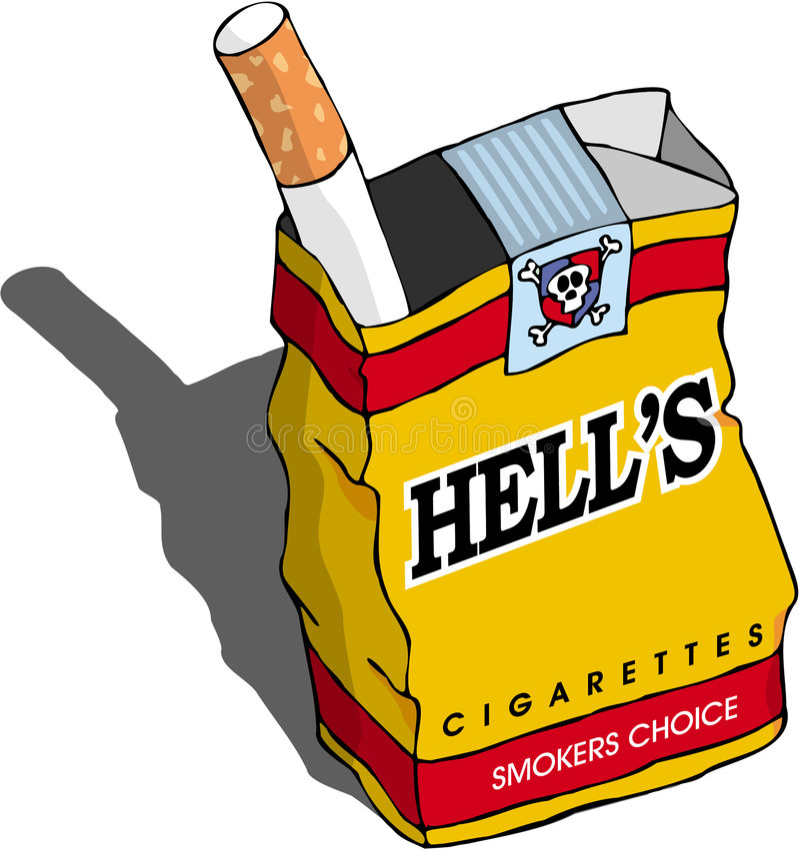 Cigarette. Packing line-art cartoon royalty free illustration