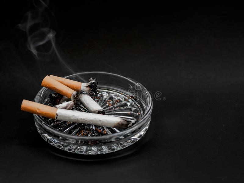 Cigarette in the ashtray on a black background. TOBACCO. royalty free stock photo