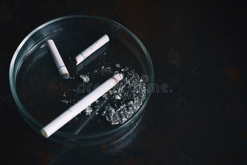 Cigarette in ashtray on dark background. Nicotine addiction. Bad habits concept.  stock image