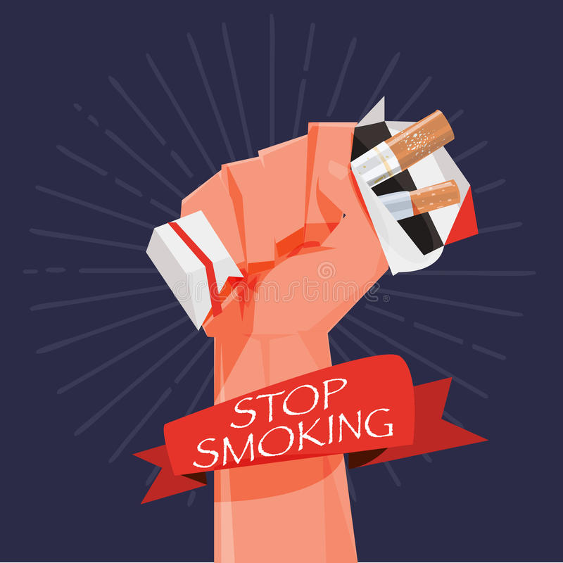 cigarette box in fist hand. giving up smoking. stop smoking concept - vector royalty free illustration