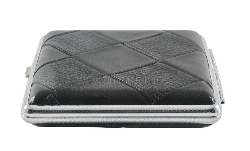 Cigarette case. Black leather case holder on white stock photos
