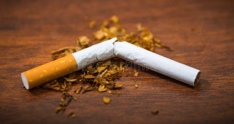 Cigarette cassée par plan rapproché et tabac se trouvant sur la surface en bois, concept de tabagisme photographie stock libre de droits