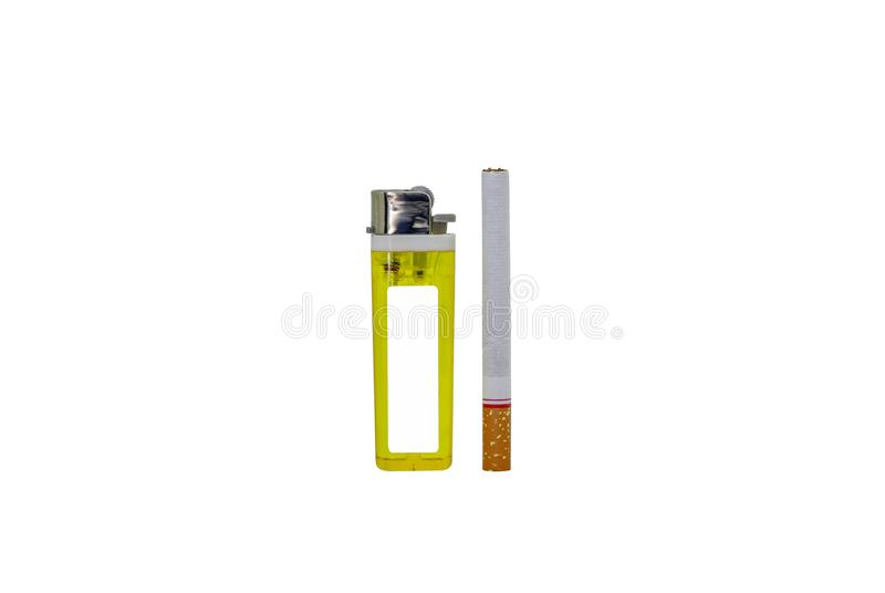 Cigarette. Lighter isolated on white background stock photos