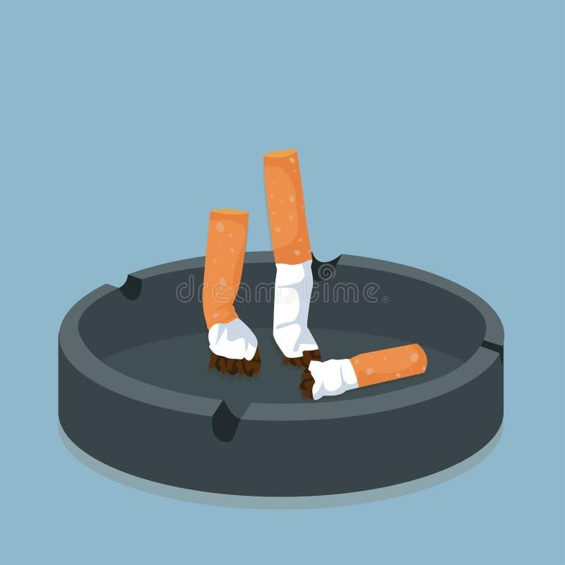 Cigarette dans le cendrier illustration stock