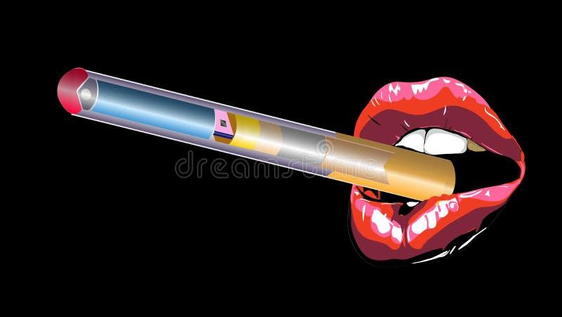Cigarette de lèvres Lèvres rouges acérées sexy Rouge à lèvres abstrait dans la bouche ouverte avec la cigarette d'électron Illust illustration libre de droits