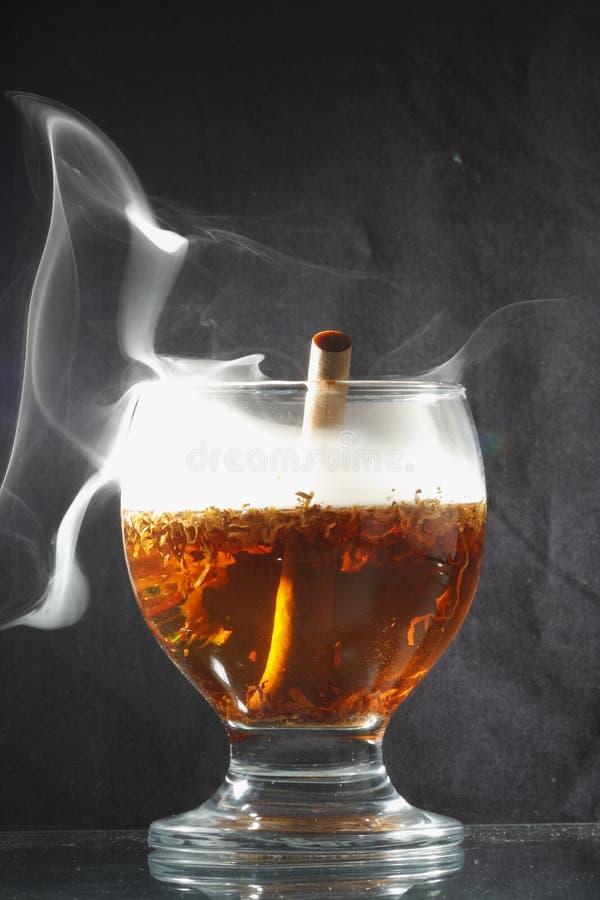 Cigarette de thé assaisonnée par tabac comme plan rapproché de paille photographie stock