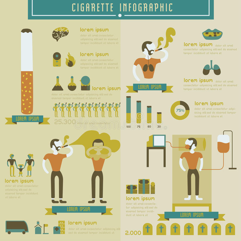 Cigarette et information-graphique de tabagisme illustration stock