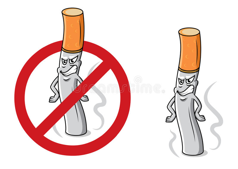 Cigarette fâchée de bande dessinée avec le signe d'arrêt illustration stock
