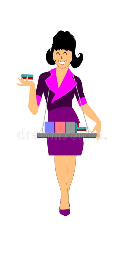 Cigarette girl from fifties. Woman selling cigarettes in nightclubs from the forties and fifties era royalty free illustration