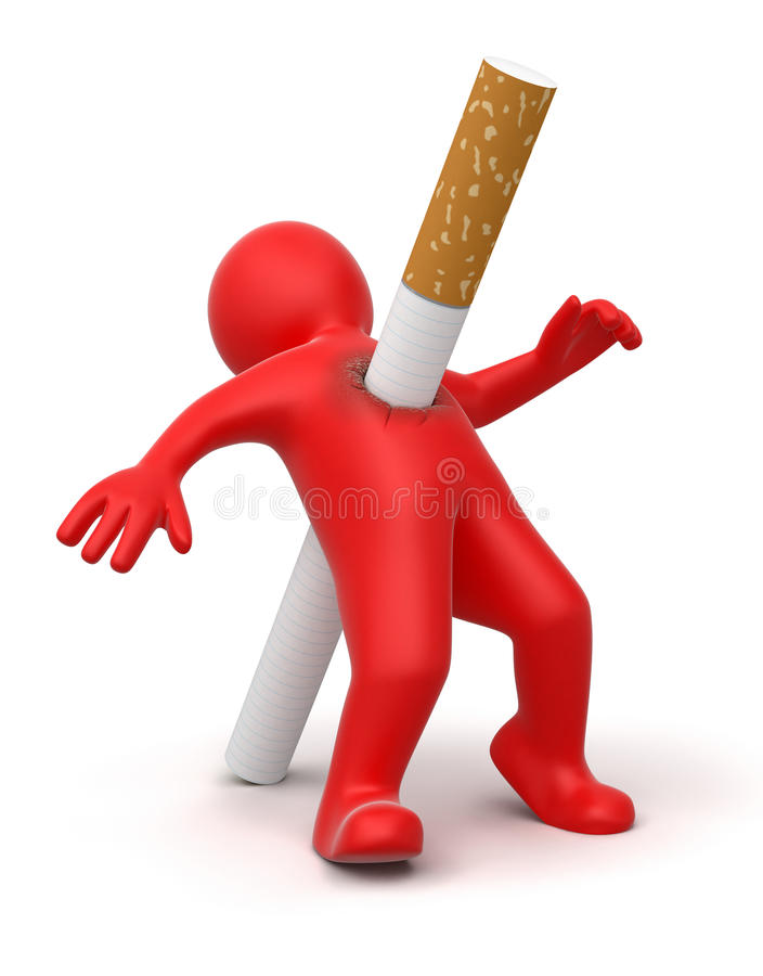 Cigarette Kills Man (clipping Path Included) Stock Photos