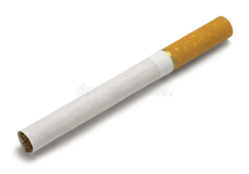 Cigarette. Single New Cigarette Isolated on White Background stock photography