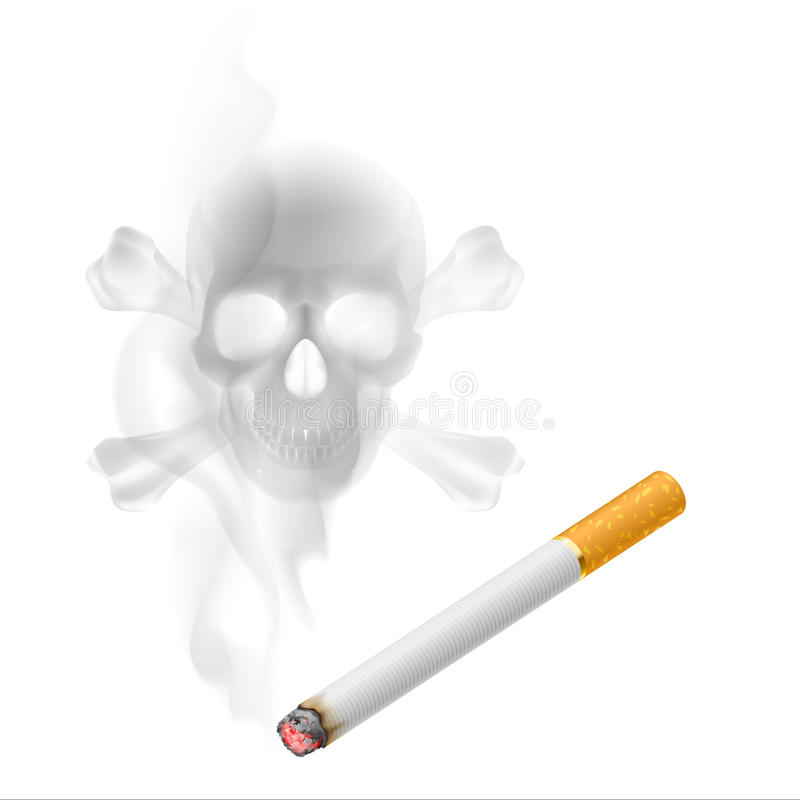 Cigarette and Skull shaped smoke. Human scull appears in Cigarette Smoke on white vector illustration