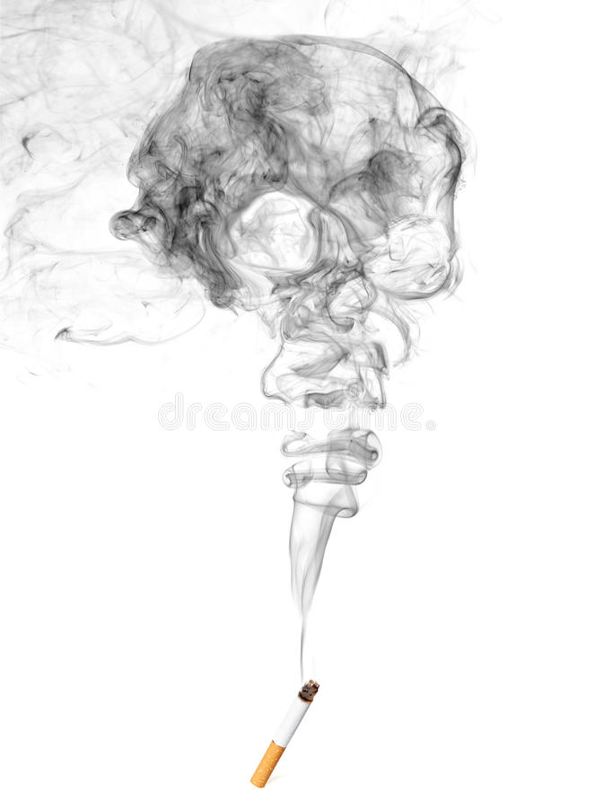 Cigarette And Skull Shaped Smoke royalty free stock photography