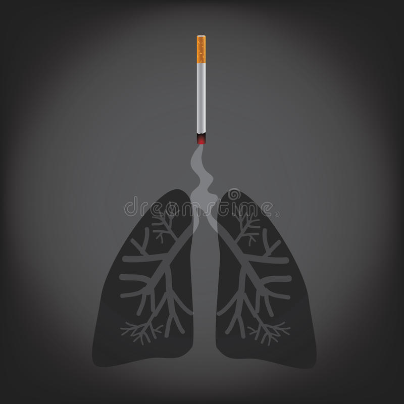 Cigarette with smoke forming lungs. Cigarette with smoke forming skull lungs. EPS 10 vector royalty free stock illustration for ad, promotion, poster, flier vector illustration