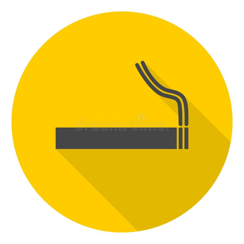 Cigarette smoke sign icon with long shadow. Icon vector illustration