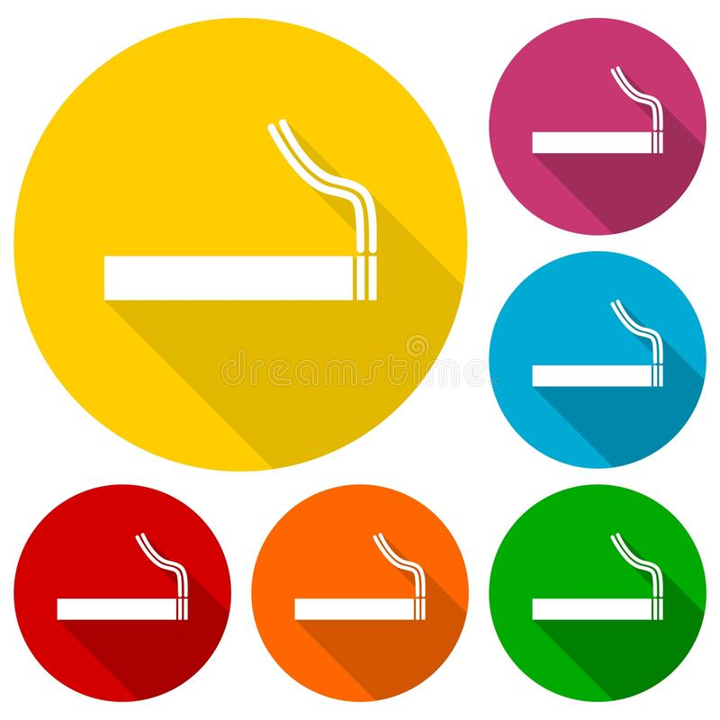 Cigarette smoke sign icons set with long shadow. Icon royalty free illustration