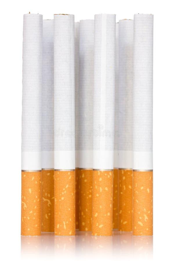 Cigarette sticks on white background stock photo