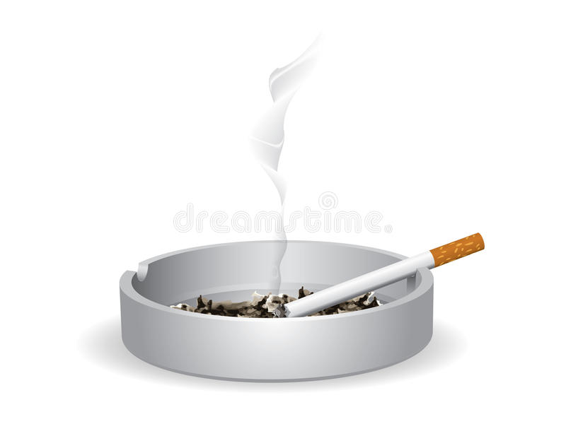 Cigarette sur le cendrier illustration stock
