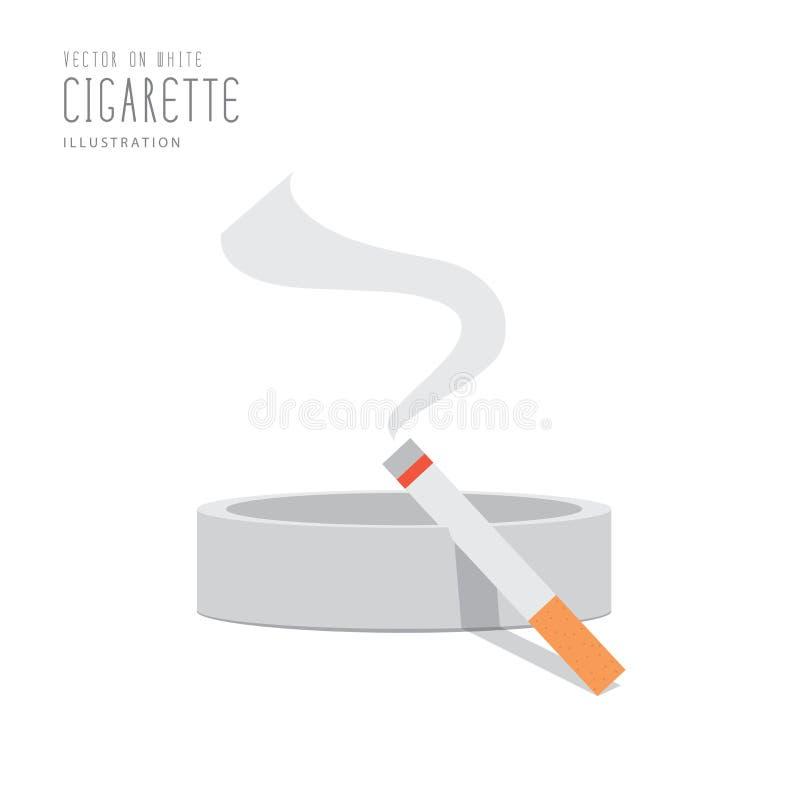 Cigarette sur le vecteur plat de cendrier illustration stock