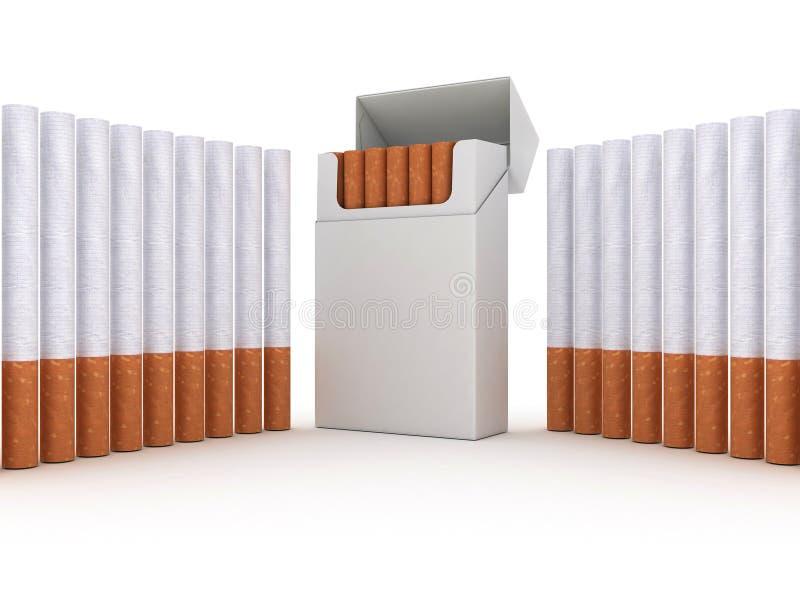 cigaretter öppnar packen stock illustrationer