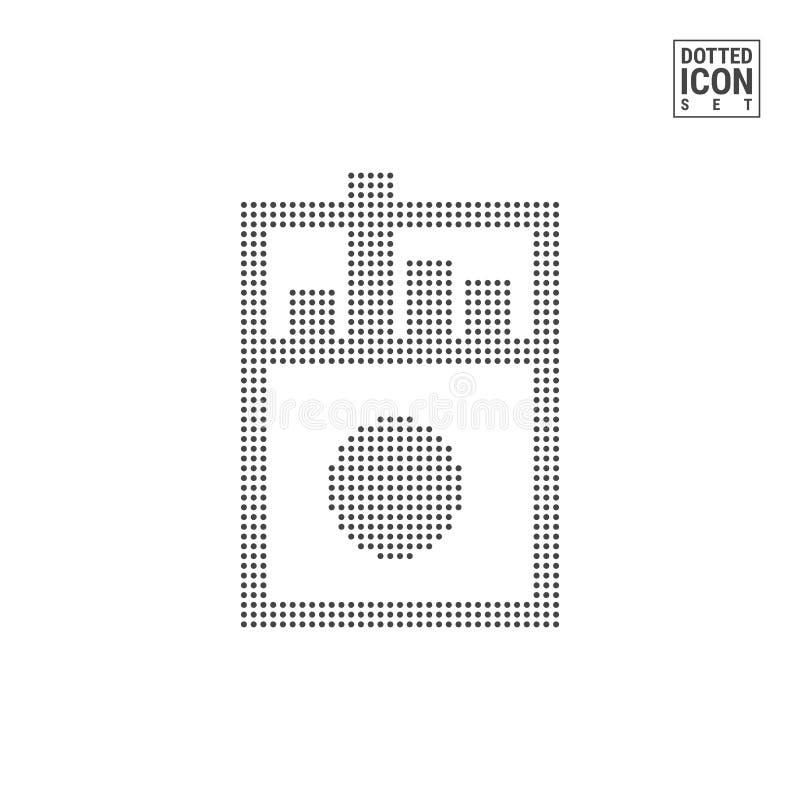 Cigaretter Dot Pattern Icon Tobak shoppar den prickiga symbolen som isoleras på vit bakgrund Vektorsymbol av cigaretter stock illustrationer