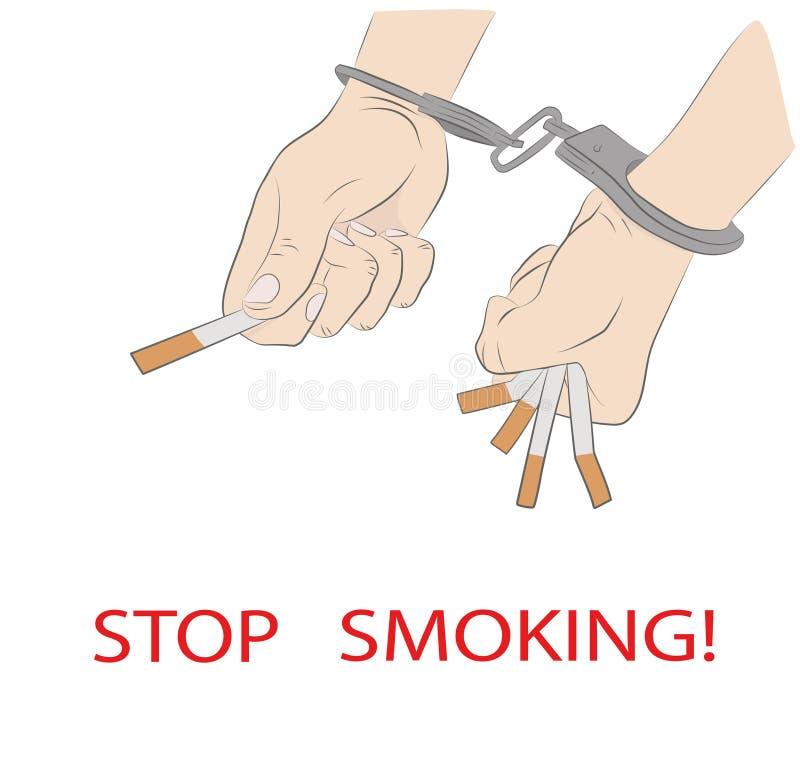 Cigaretter i handen som handfängslas inskrift: stoppa att röka begrepp av att röka beroende också vektor för coreldrawillustratio royaltyfri illustrationer