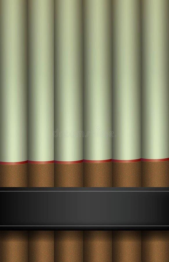 Cigaretter i rad med det svarta bandet, heabbit av dödidén, cigaretter stock illustrationer