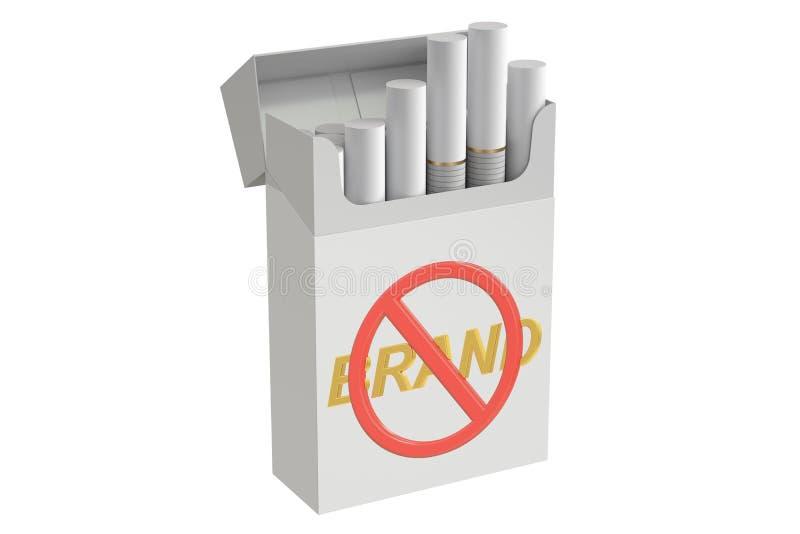 Cigaretter i slätten som förpackar med inget hjärnteckenbegrepp 3D, ren royaltyfri illustrationer