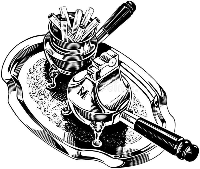 Cigaretter och silvertändare vektor illustrationer