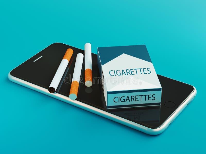 Cigaretter på telefonen, rök, 3d framför illustrationen vektor illustrationer