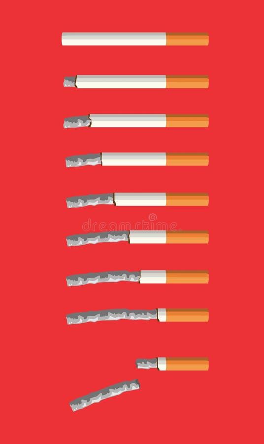Cigaretter som bränner följdramvektorn royaltyfri illustrationer