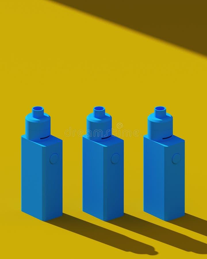 Cigarettes électroniques élégantes Couleurs bleues et jaunes Affiche de conception de minimalisme illustration 3D illustration stock