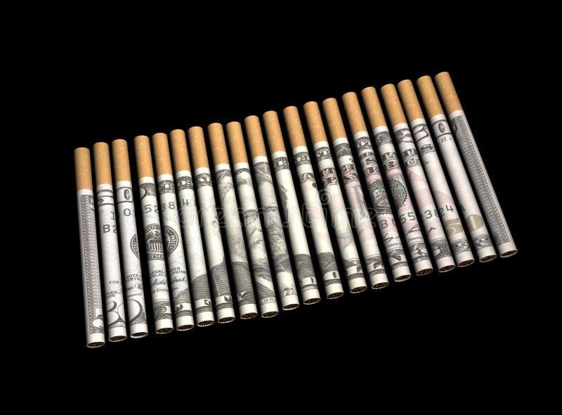 Cigarettes avec de l'argent en journal images stock
