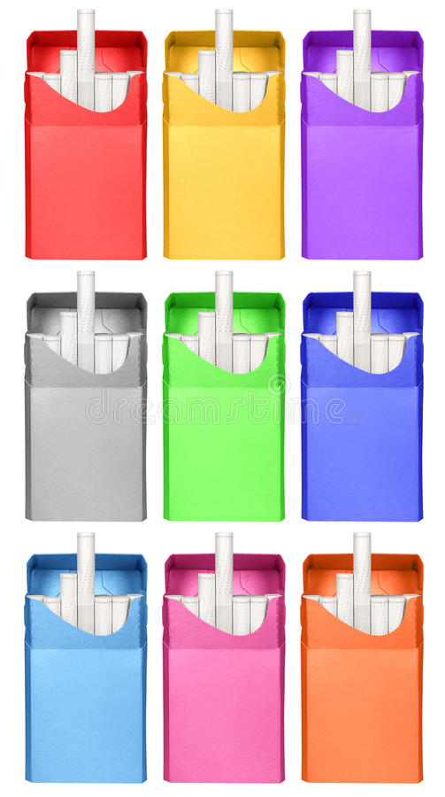 Cigarettes box - opened-colorful stock image
