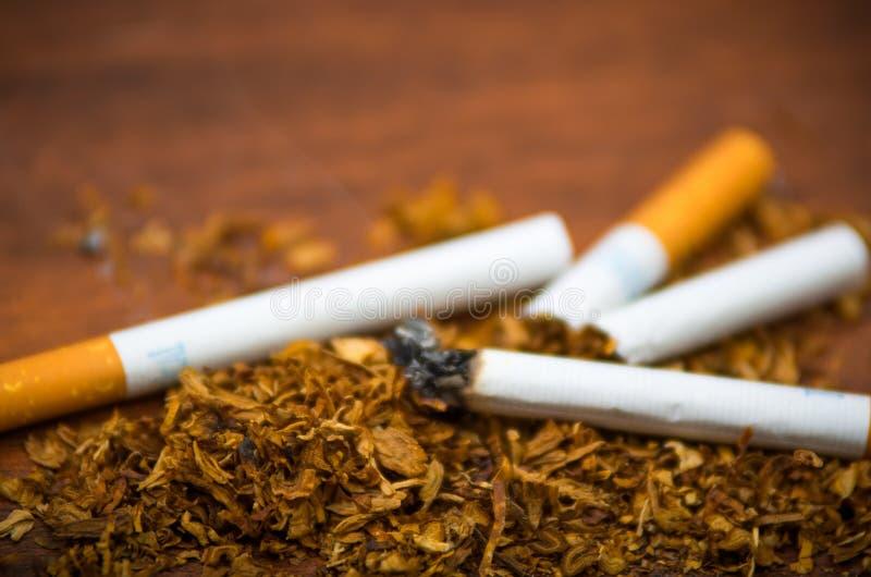 Cigarettes et tabac de plan rapproché se trouvant autour sur la surface en bois, concept contre le tabac images stock