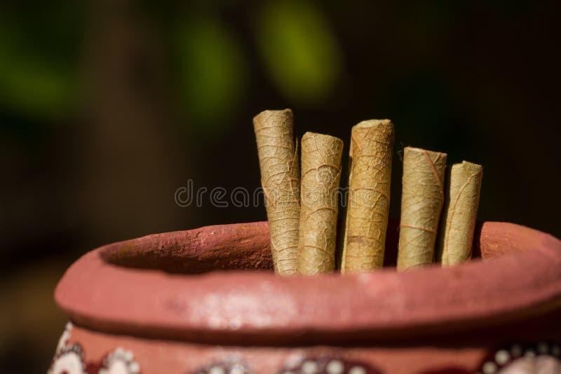 Cigarettes indiennes dans un broc d'argile images libres de droits