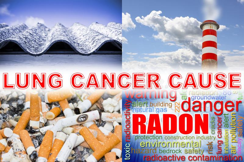 Cigarettes, radon gas, air pollution, asbestos: the main causes. Of lung cancer - concept image stock images