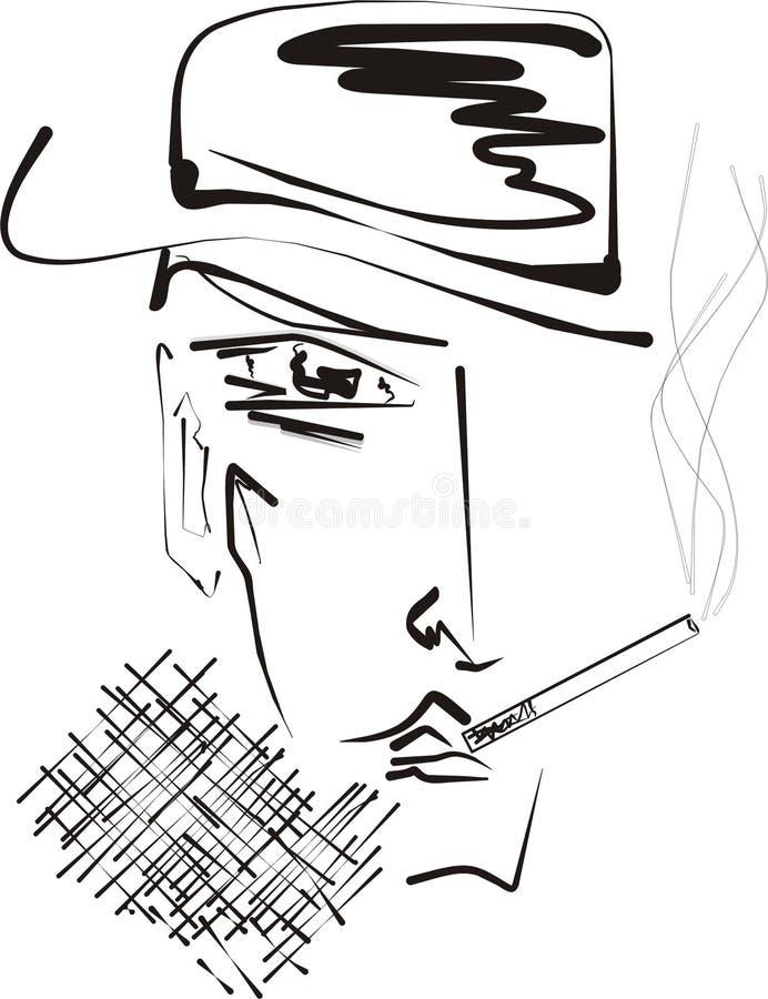 cigarettmanrökning vektor illustrationer