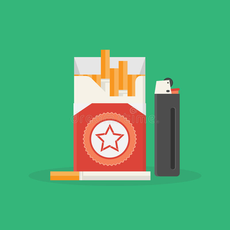 Cigarettpacke och tändare vektor illustrationer